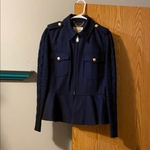 Lands' End Canvas Military Ruffle Jacket Size 14